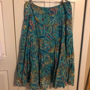 Lauren paisley print long tiered skirt
